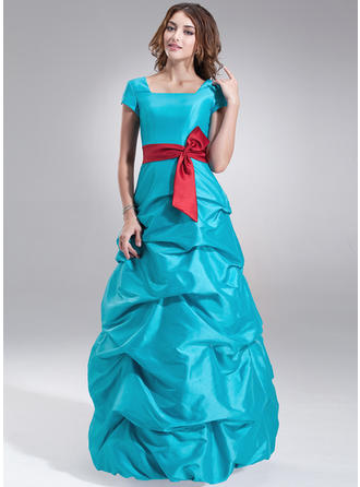 A-Line/Princess Taffeta Bridesmaid Dresses Ruffle Sash Bow(s) Square Neckline Short Sleeves Floor-Length