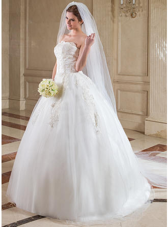 Cathedral Bridal Veils Tulle Two-tier Drop Veil With Cut Edge Wedding Veils