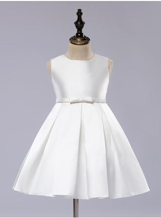 Newest Scoop Neck A-Line/Princess Flower Girl Dresses Knee-length Satin Sleeveless