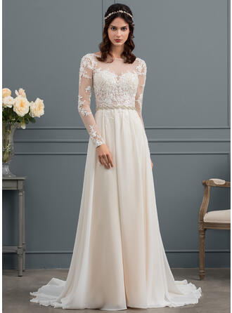 A-Line Illusion Court Train Chiffon Wedding Dress With Beading Sequins