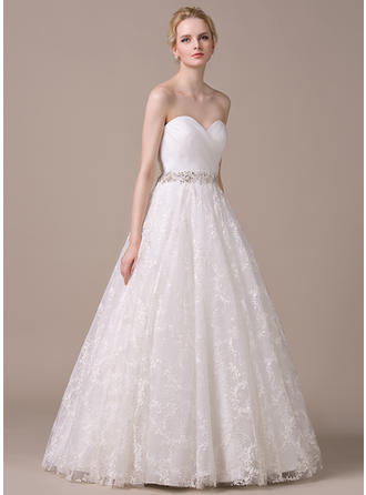 Ball-Gown Sweetheart Floor-Length Wedding Dresses With Ruffle Beading Sequins