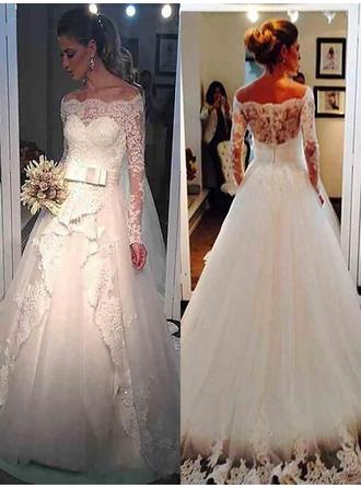 Ball-Gown Tulle Long Sleeves Off-The-Shoulder Sweep Train Wedding Dresses