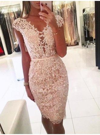 Sheath/Column V-neck Knee-Length Homecoming Dresses With Lace