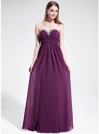 Empire Sweetheart Floor-Length Prom Dresses With Ruffle Beading