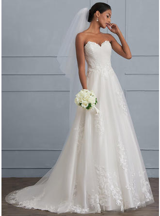 Ball-Gown Sweetheart Sweep Train Tulle Wedding Dress With Ruffle Beading Sequins