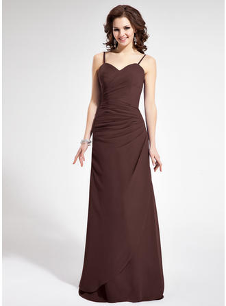 Sheath/Column Sweetheart Floor-Length Bridesmaid Dresses With Ruffle