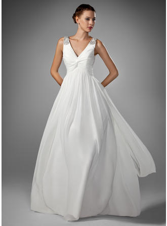 A-Line/Princess Sweetheart Floor-Length Wedding Dresses With Ruffle Beading