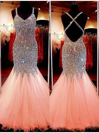 Trumpet/Mermaid V-neck Floor-Length Tulle Prom Dresses With Beading Sequins