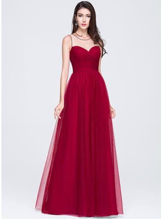A-Line/Princess Tulle Prom Dresses Ruffle Beading Flower(s) Sequins Scoop Neck Sleeveless Floor-Length
