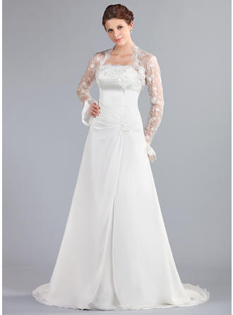 A-Line/Princess Strapless Court Train Wedding Dresses With Ruffle Lace Beading