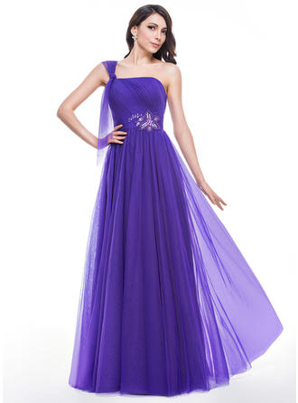 A-Line/Princess Tulle Prom Dresses Ruffle Beading One-Shoulder Sleeveless Floor-Length