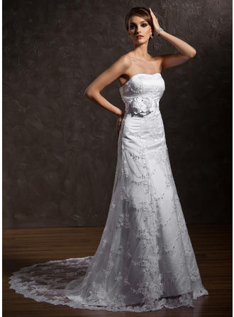 A-Line/Princess Sweetheart Court Train Wedding Dresses With Beading Flower(s)