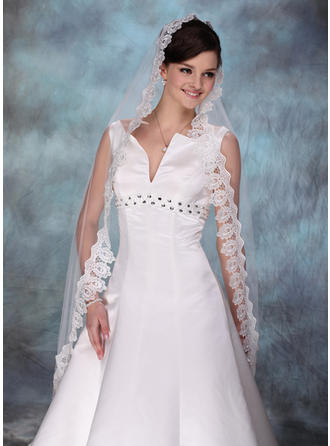 Waltz Bridal Veils Tulle One-tier Drop Veil/Mantilla With Lace Applique Edge Wedding Veils