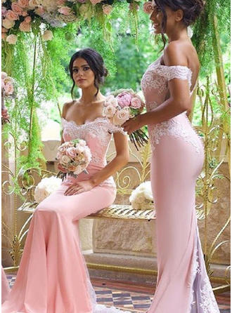 Trumpet/Mermaid Off-the-Shoulder Sweep Train Stretch Crepe Bridesmaid Dresses With Lace