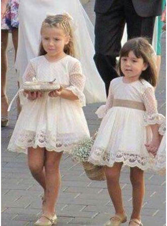 A-Line/Princess Scoop Neck Short/Mini Tulle/Lace 1/2 Sleeves Flower Girl Dresses