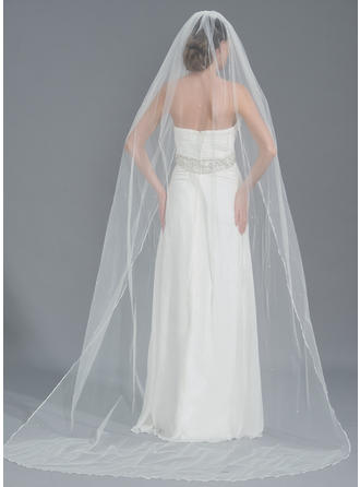 Chapel Bridal Veils Tulle One-tier Oval With Beading Wedding Veils