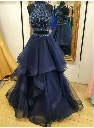 A-Line/Princess Tulle Prom Dresses Ruffle Beading Sequins Halter Sleeveless Floor-Length