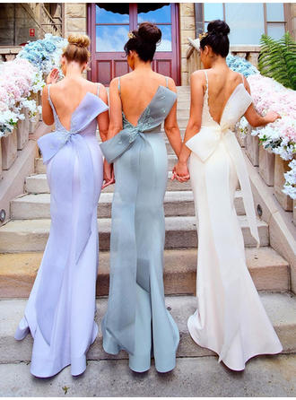 Trumpet/Mermaid Satin Bridesmaid Dresses Appliques Lace Bow(s) Scoop Neck Sleeveless Sweep Train