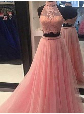 A-Line/Princess Tulle Prom Dresses Lace High Neck Sleeveless Floor-Length