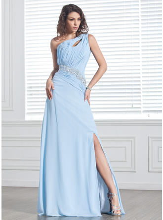 A-Line/Princess Chiffon Prom Dresses Ruffle Beading Split Front One-Shoulder Sleeveless Sweep Train