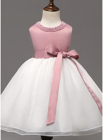 Scoop Neck Floor-length Satin Tulle Christening Gowns With Beading