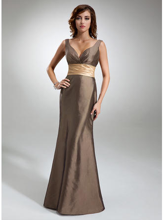 Trumpet/Mermaid Taffeta Bridesmaid Dresses Ruffle Sash V-neck Sleeveless Floor-Length