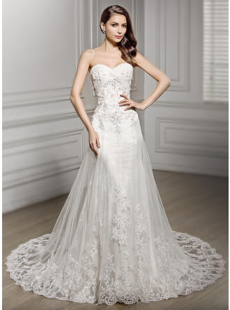 Trumpet/Mermaid Sweetheart Cathedral Train Wedding Dresses With Ruffle Beading Sequins