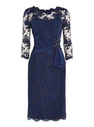 Sheath/Column Lace 3/4 Sleeves Scoop Neck Knee-Length Zipper Up Mother of the Bride Dresses
