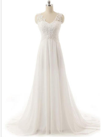 Beautiful V-neck A-Line/Princess Wedding Dresses Sweep Train Chiffon Sleeveless