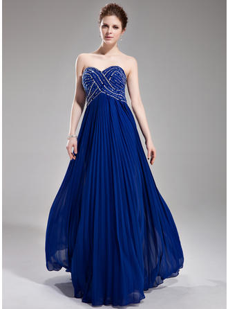 A-Line/Princess Sweetheart Floor-Length Prom Dresses With Beading Sequins Pleated