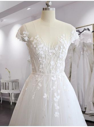 A-Line/Princess Scoop Sweep Train Wedding Dresses With Appliques Lace