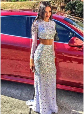 Trumpet/Mermaid Sweep Train Prom Dresses Scoop Neck Sequined Long Sleeves
