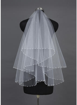 Fingertip Bridal Veils Tulle One-tier Classic With Pearl Trim Edge Wedding Veils