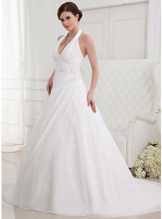 Sexy Halter A-Line/Princess Wedding Dresses Chapel Train Chiffon Sleeveless