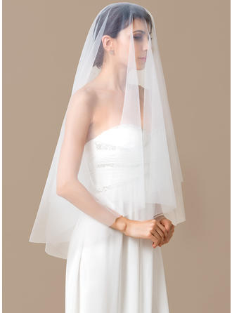 Waltz Bridal Veils Tulle One-tier Oval With Cut Edge Wedding Veils