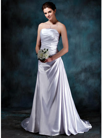 Magnificent Strapless A-Line/Princess Wedding Dresses Sweep Train Charmeuse Sleeveless