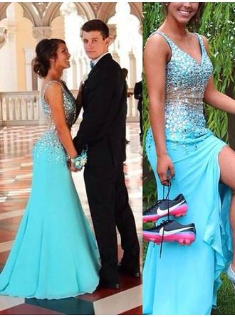 Trumpet/Mermaid Chiffon Prom Dresses Beading V-neck Sleeveless Sweep Train