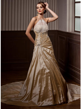Modern Halter A-Line/Princess Wedding Dresses Chapel Train Taffeta Sleeveless
