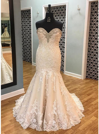 Trumpet/Mermaid Sweetheart Court Train Wedding Dresses With Beading Sequins