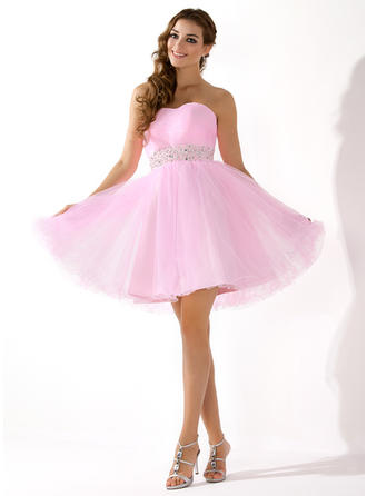 A-Line/Princess Sweetheart Short/Mini Wedding Dresses With Beading Sequins