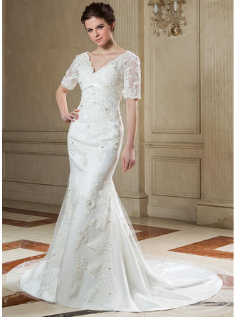 Trumpet/Mermaid Sweetheart Chapel Train Wedding Dresses With Beading Appliques Lace