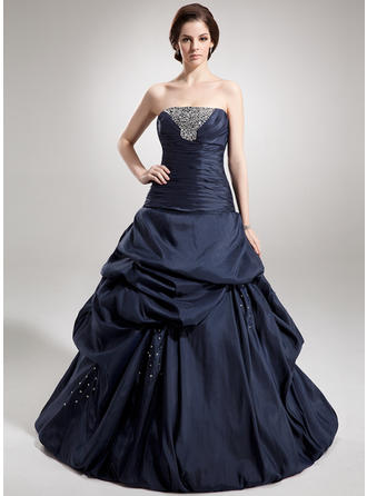 Ball-Gown Taffeta Prom Dresses Ruffle Beading Sequins Strapless Sleeveless Floor-Length