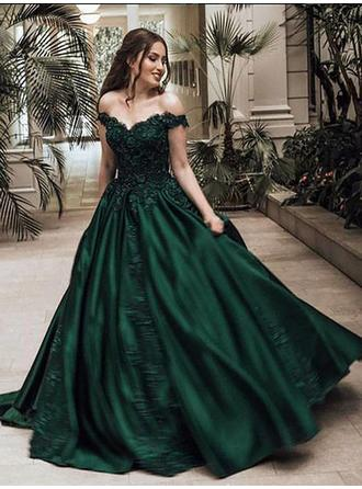 Ball-Gown Off-the-Shoulder Sweep Train Evening Dresses With Beading Appliques Lace