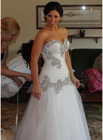 A-Line/Princess Sweetheart Floor-Length Wedding Dresses With Ruffle Beading Sequins