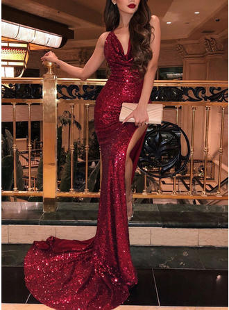 Trumpet/Mermaid Cowl Neck Sweep Train Prom Dresses With Ruffle