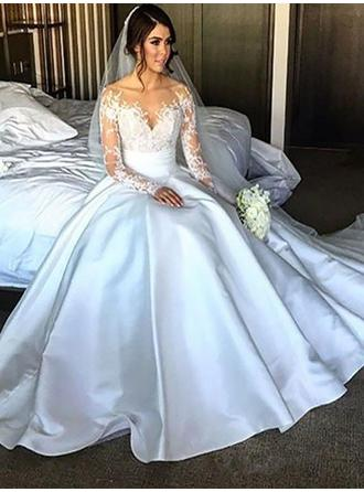 Glamorous Off-The-Shoulder Ball-Gown Wedding Dresses Court Train Satin Long Sleeves