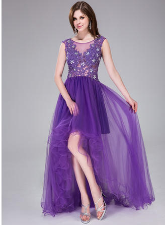 A-Line/Princess Tulle Prom Dresses Beading Appliques Lace Flower(s) Sequins Scoop Neck Sleeveless Asymmetrical