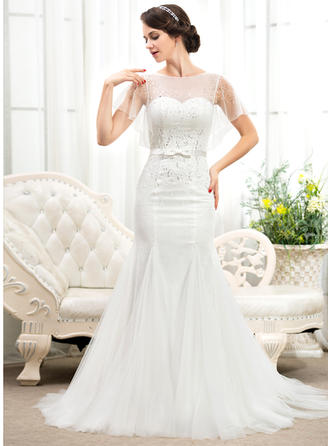 Scoop Trumpet/Mermaid Wedding Dresses Tulle Lace Beading Sequins Bow(s) Short Sleeves Court Train