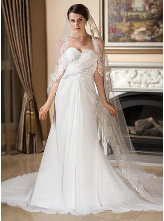 A-Line/Princess Sweetheart Watteau Train Wedding Dresses With Ruffle Lace Beading