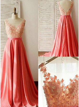 A-Line/Princess Chiffon Lace Bridesmaid Dresses Beading Scoop Neck Sleeveless Sweep Train